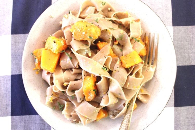 Fresh chestnut pasta with butternut squash.