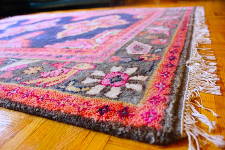 Side-angle of our colorful Persian Kismet rug by Caitlin Wilson.