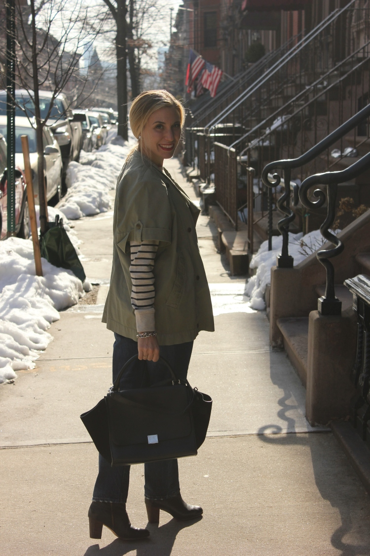 Denim and Stripe Fashion Outfit with Trapeze Celine Bag