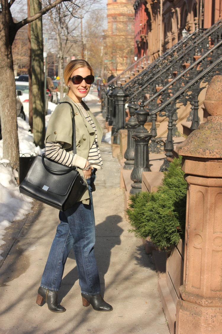 Denim and Stripe Fashion Outfit with Celine Bag