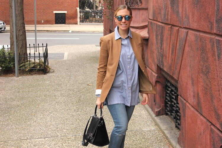 Philadelphia street style: Allie with a black Celine bag, a blazer, and sunglasses in Center City