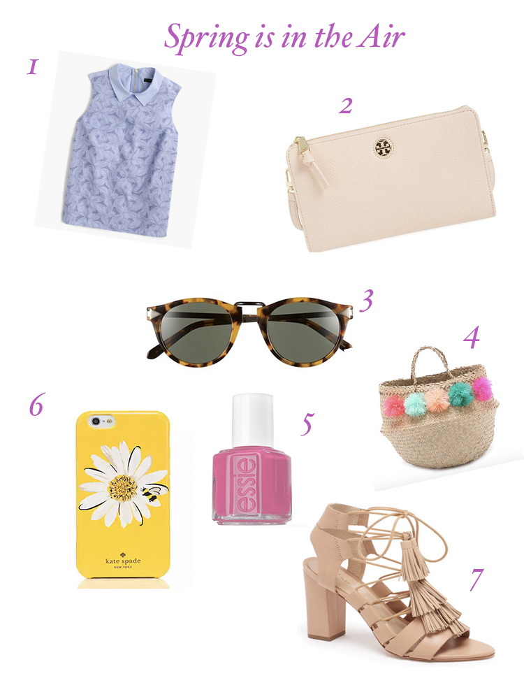 A graphic depicting 7 fashionable items that are perfect for spring