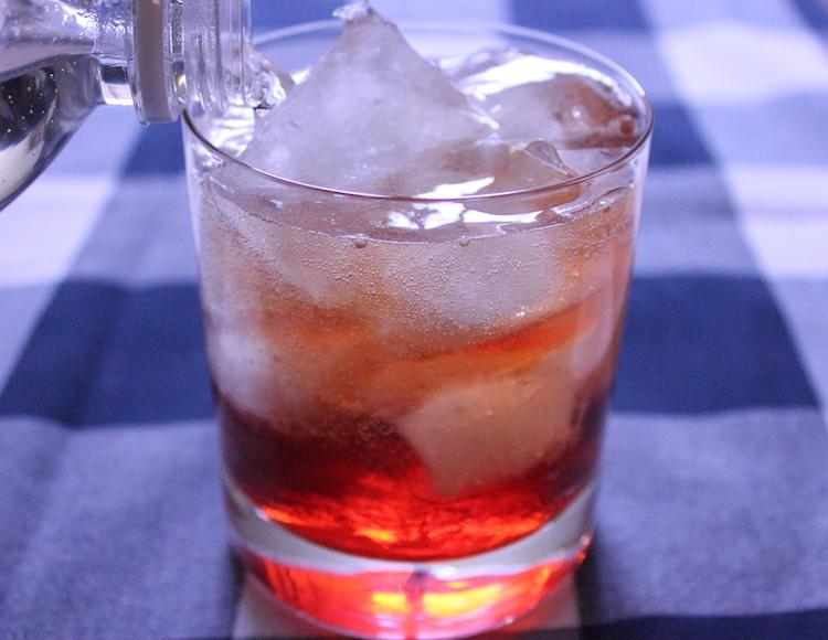An Americano cocktail of Campari, vermouth, and club soda