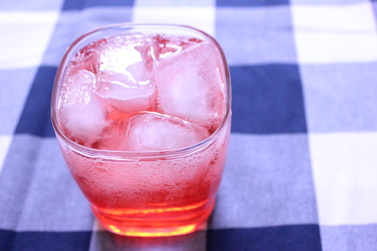 Campari and soda in a glass with ice