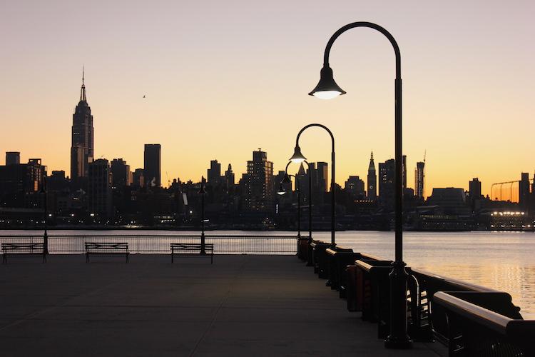 Pier 12 in Hoboken with Midtown Manhattan behind (at dawn)
