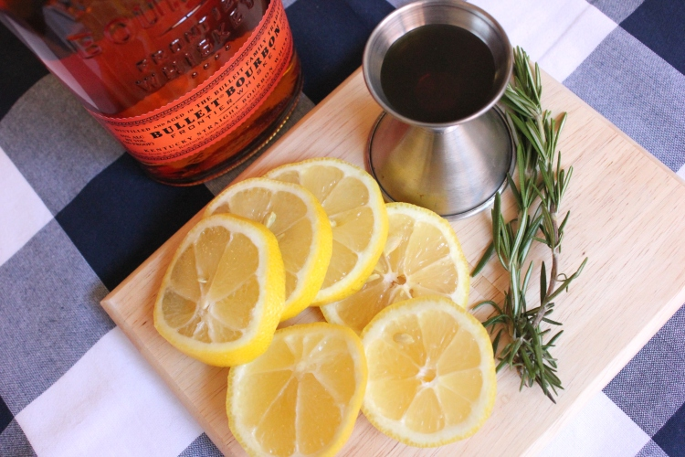 Lemon, rosemary, maple syrup and bourbon, all ingredients for a nice bourbon sour.