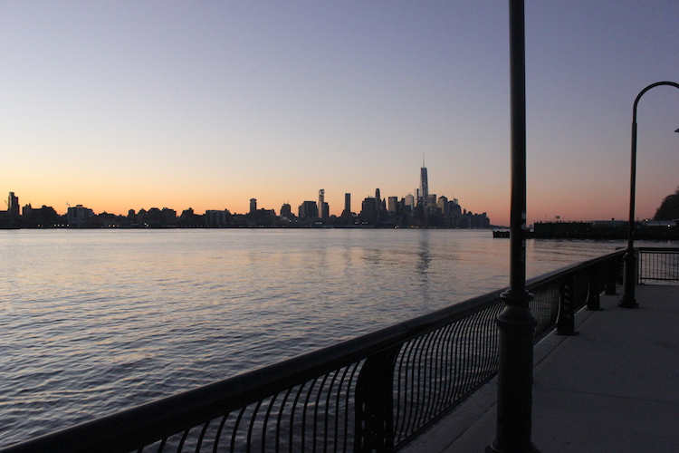 Downtown New York seen from New Jersey at dawn