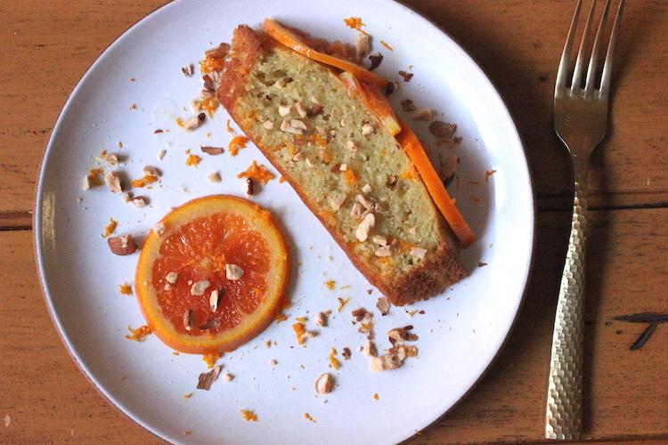Slice of orange olive oil cake
