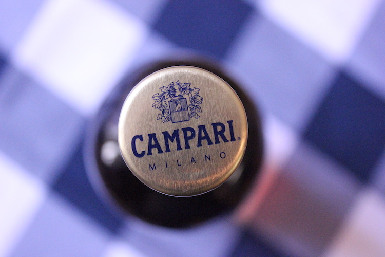 A top-view of Campari seen from above the bottle cap