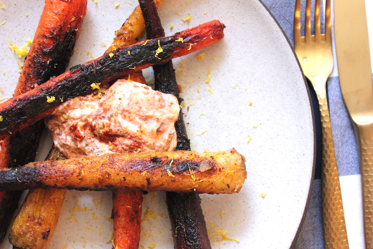 A close-up shot of a plate of simple-roasted spiced carrots