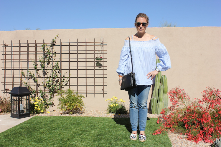 Allie looking fresh for spring in a nice off-shoulder shirt, a classic black Celine bag, Kate Spade espadrilles