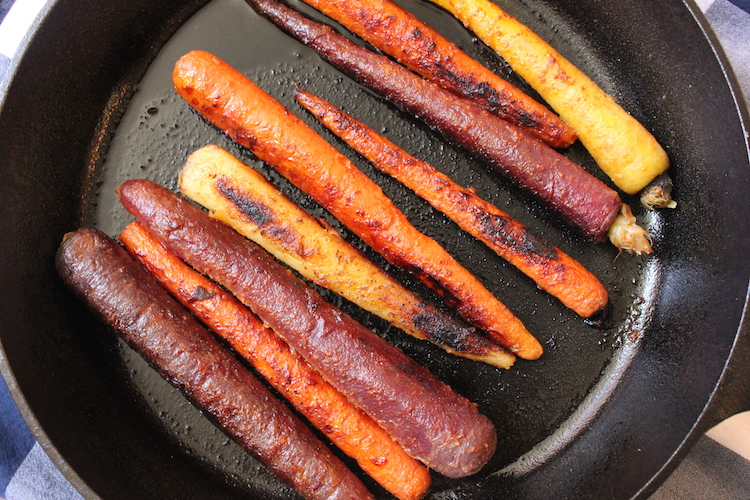 Roasting carrots in a cast iron pan