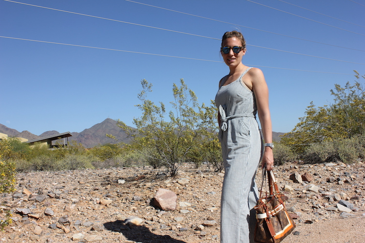 Side view of a Madewell jumpsuit