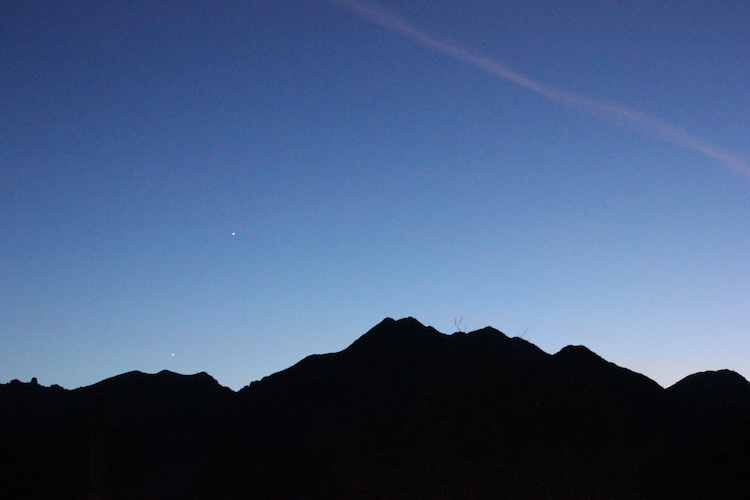 The McDowell Mountains in silhouette against a spring dawn in Arizona