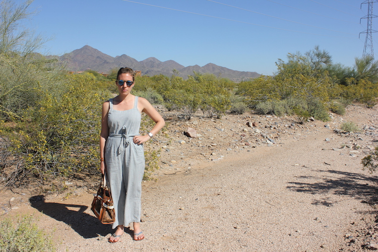 Staying cool in a Madewell jumpsuit in
