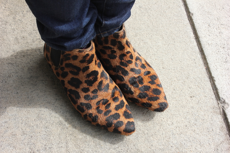 Close-up picture of fun leopard shoes