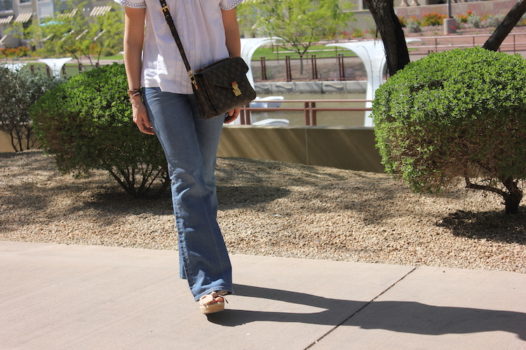 Faded Flare Jeans in the 1970s style