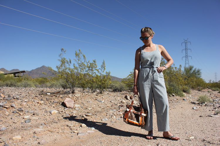 Looking down in a jumpsuit from Madewell