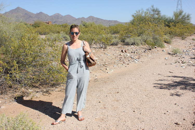 Wearing a striped jumpsuit from Madewell on a nice day