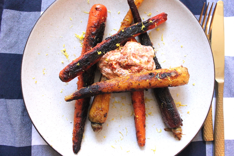 Blackened carrots with a harissa yogurt sauce